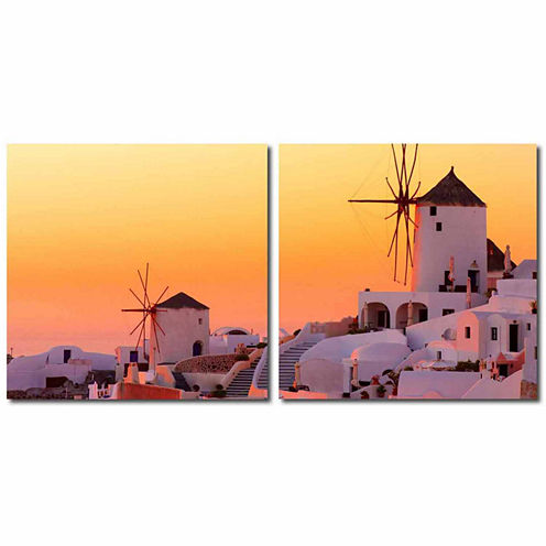 Grecian Crossroads Mounted  2-pc. Photography Print Diptych Set