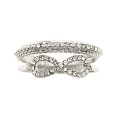 jcpenney.com | the skinny® Crystal Infinity Ring Set