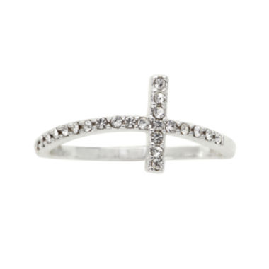 jcpenney.com | the skinny® Crystal Horizontal Cross Ring