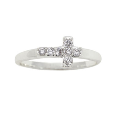 jcpenney.com | the skinny® Cubic Zirconia Horizontal Cross Ring