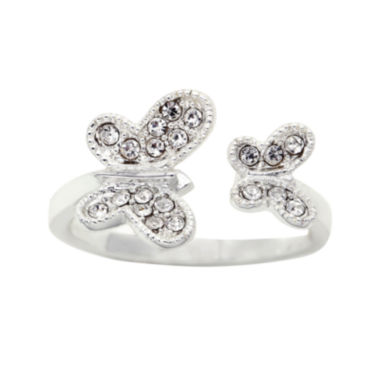 jcpenney.com | the skinny® Crystal Double Butterfly Ring