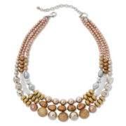 Aris by Treska Glitterati 3-Row Beaded Bib Necklace