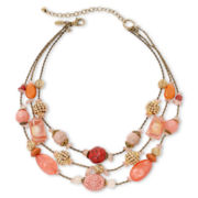 Aris by Treska Peach Bellini 3-Row Beaded Necklace