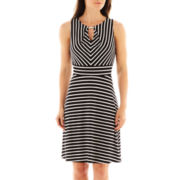 Donna Ricco Sleeveless Striped Fit-and-Flare Dress