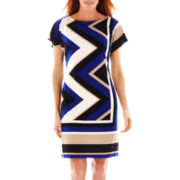 Studio 1® Dolman-Sleeve Chevron Print Dress
