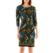 Robbie Bee® 3/4-Sleeve Box Print Sheath Dress