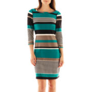 Robbie Bee® 3/4-Sleeve Striped Sheath Dress
