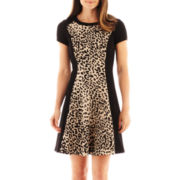Studio 1® Cap-Sleeve Animal Print Dress