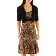 Perceptions Animal Print Dress with Buckle Jacket