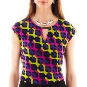 Liz Caiborne Cap-Sleeve Print Tie-Neck Top - Tall