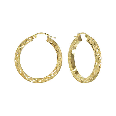 14K Yellow Gold Lasered Square Tube Hoop Earrings