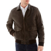 Dockers® Faux-Leather Bomber Jacket