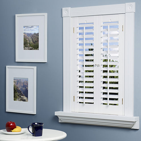 Faux wood plantation shutter for Indoor wood shutters white