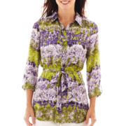 Liz Claiborne Long-Sleeve Belted Tunic Shirt