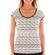 Liz Claiborne® Short-Sleeve Textured Tee - Petite