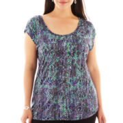 Liz Claiborne® Short-Sleeve Scoopneck Print Tee - Plus