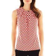Worthington® Sleeveless Pleat-Neck Top
