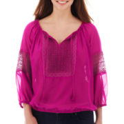 Arizona Long-Sleeve Peasant Top - Plus