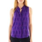 jcp™ Sleeveless Shirt - Petite