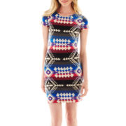 Bailey Blue Cap-Sleeve Aztec Print T-Shirt Dress