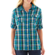 St. John's Bay® 3/4 Sleeve Gauze Campshirt - Plus