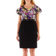 Alyx® Cap-Sleeve Ruffled Two-Tone Dress - Plus