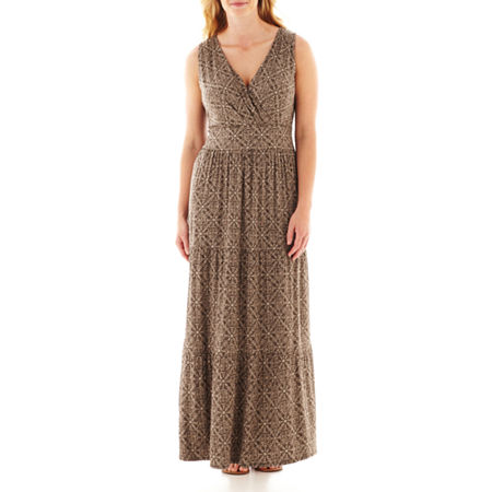 St. John's Bay Sleeveless V-Neck Maxi Dress - Plus