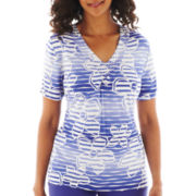 Alfred Dunner® St. Tropez Short-Sleeve Floral Striped Top