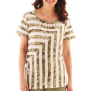 Alfred Dunner® Call of the Wild Tie-Dyed Striped Top - Petite