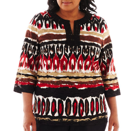 Alfred Dunner Belize 3/4-Sleeve Ikat Biadere Lace Blouse - Plus