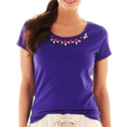 jcp™ Short-Sleeve Jeweled Necklace Tee