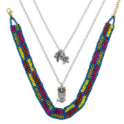 Decree® Owl and Multicolor Seed Bead Choker 3-pc. Layered Necklace Set
