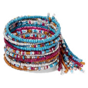 Decree® Fringed Seed Bead Wire Cuff Bracelet