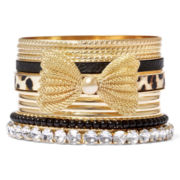 Decree® 12-pc. Bow and Stone Gold-Tone Bangle Bracelet Set