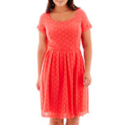 Ronni Nicole Cap-Sleeve Circle Stretch Lace Fit-and-Flare Dress - Plus