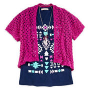Self Esteem® Tee, Cardigan and Necklace - Girls 7-16 and Plus