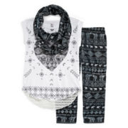 Knit Works Tee, Leggings and Scarf - Girls 7-16 and Plus