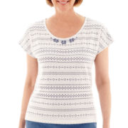 Alfred Dunner® Paradise Island Short-Sleeve Pointelle Beaded Yoke Top - Petite