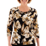 Alfred Dunner® Animal Magnetism 3/4-Sleeve Floral Top - Petite