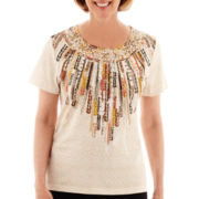 Alfred Dunner® Animal Magnetism Short-Sleeve Tribal Texture Yoke Top - Petite