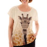 Alfred Dunner® Animal Magnetism Short-Sleeve Giraffe Top - Petite