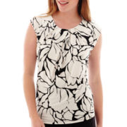 Liz Claiborne® Sleeveless Extended-Shoulder Floral Print Knit Top