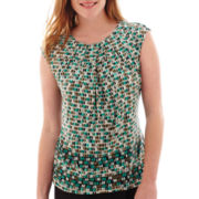 Liz Claiborne® Sleeveless Extended-Shoulder Geo Print Top
