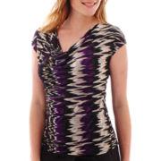 Liz Claiborne® Sleeveless Mesh Print Cowlneck Top