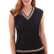 Liz Claiborne® Sleeveless Embellished V-Neck Knit Top