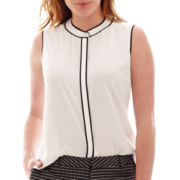 Liz Claiborne® Sleeveless Piped Blouse