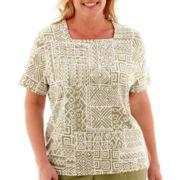 Alfred Dunner® Coastal Breeze Short-Sleeve Batik Patch Print Top - Plus