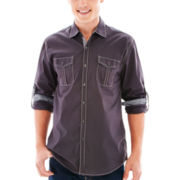Michael Brandon Long-Sleeve Solid Poplin Shirt