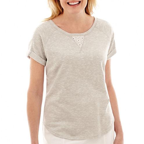 Silverwear Short-Sleeve French Terry Eyelet T-Shirt - Petite