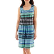 RN Studio by Ronni Nicole Sleeveless Knit Pleat-Neck Sheath Dress - Petite